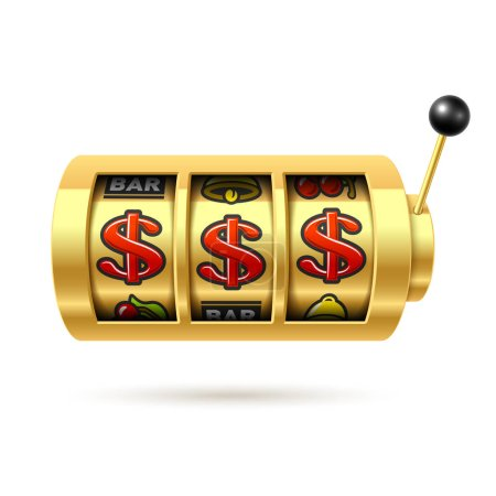 Illustration pour Machine à sous avec jackpot dollar. Illustration vectorielle . - image libre de droit