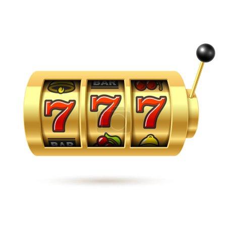 Illustration pour Machine à sous avec pot chanceux de sept sur fond blanc. illustration vectorielle - image libre de droit