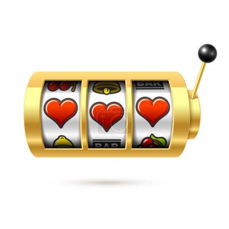 Illustration pour Coeurs sur machine à sous sur fond blanc, illustration vectorielle - image libre de droit