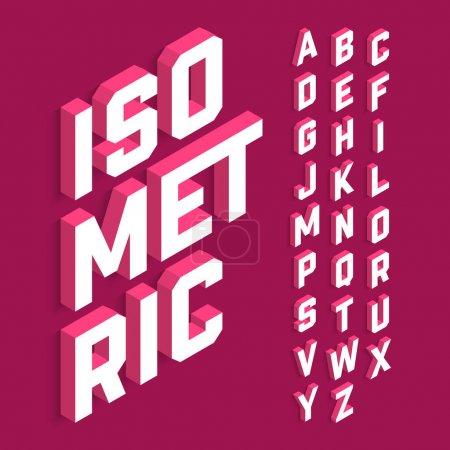 Illustration pour Inscriptions isométriques avec alphabet sur fond violet - image libre de droit