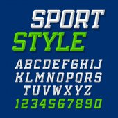 Sport style uppercase font on blue background vector illustration
