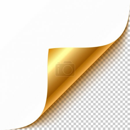 Illustration for Blank golden curled corner page, vector illustration - Royalty Free Image