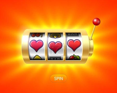 Illustration pour Machine à sous avec des cœurs rouges. Illustration vectorielle . - image libre de droit