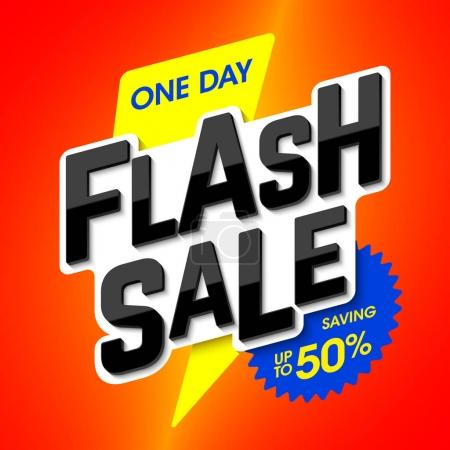 Illustration for One day Flash Sale bright banner. Vector illustration. - Royalty Free Image