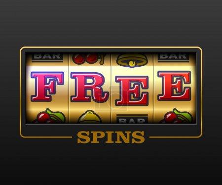 Illustration pour Free Spins bouns, bannière de jeux de machine à sous, jeux de casino, illustration de machine à sous avec texte Des Free Spins - image libre de droit