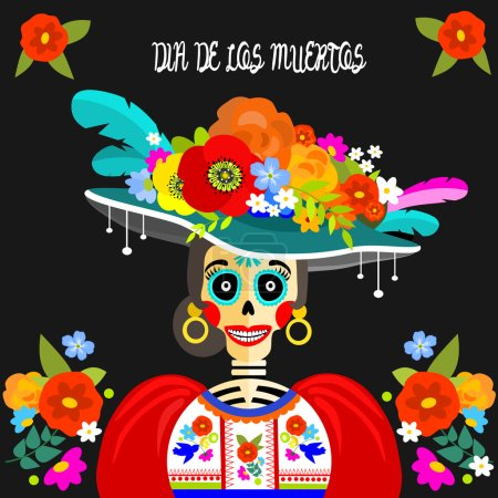 Illustration for Dressed skull. Dia de Los Muertos greeting or invitation card for the Mexican Day of the Dead. - Royalty Free Image