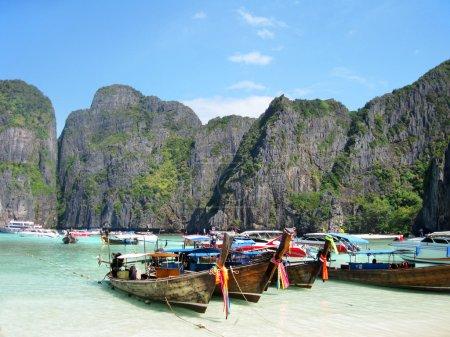 Traditional Thai Longtail boats at Maya Bay