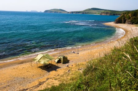 lone camping on desert beach