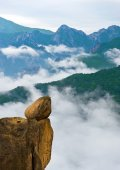 Ulsanbawi Rock against the fog seorak mountains