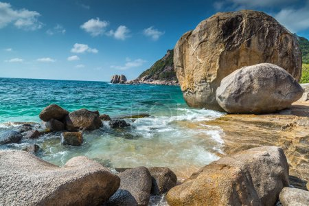 Rocky beach view of Koh Tao island Thailand