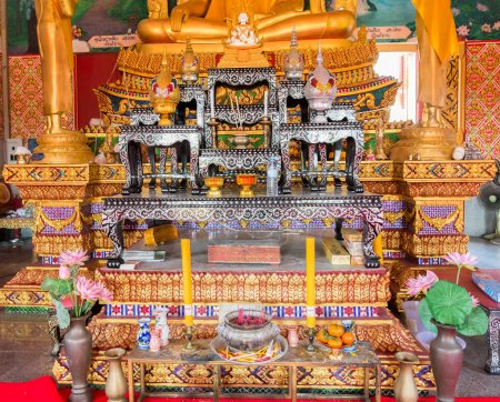 altar inside the buddhist temple at Samui, Thailand