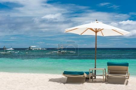 Tropical beach background from Alona Beach at Panglao Bohol isla