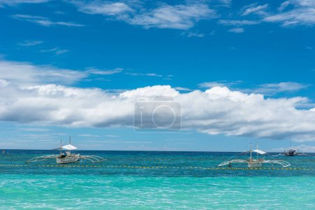 Tropical background view from Paglao island at Alona beach with