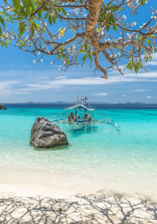 View of traditional boat at Coron Island beach, Philippines