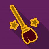 Flat icon with shadow stars broom