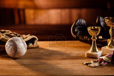 Still life of trophy, medals, vintage boxing gloves,