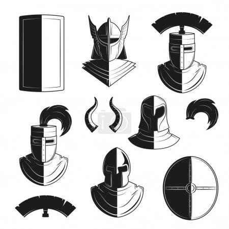 Vector set of icons of ancient helmets and protection.