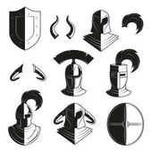Vector set of icons of ancient helmets and protection