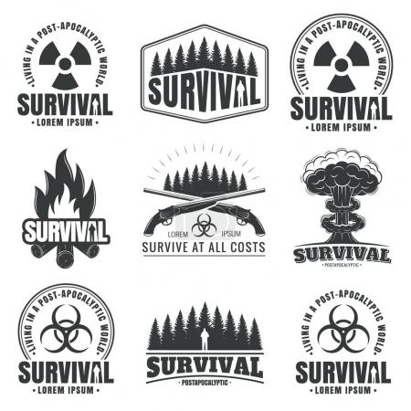 Illustration for Illustration with a set of icons for a design on a theme of survival. Post-apocalyptic world, the invasion of zombies, the end of the world. Grunge style icons. - Royalty Free Image