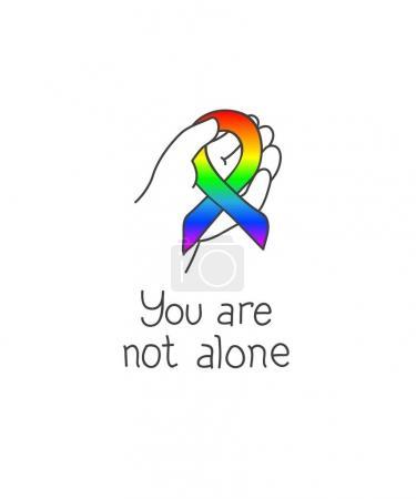 Illustration pour Tu n'es pas seul. Journée mondiale de sensibilisation à l'autisme, 2 avril 2017. Main d'enfant tenant un ruban. La couleur arc-en-ciel symbolise la diversité du spectre autistique. Illustration vectorielle, isolée sur blanc - image libre de droit