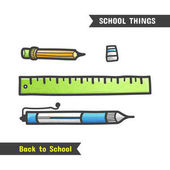 Back to School Supplies vector hand drawn icon isolated on white cartoon style A set of stationery for the school ballpoint pen pencil eraser and ruler