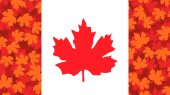 Vector illustration with maple leaf Canada flag