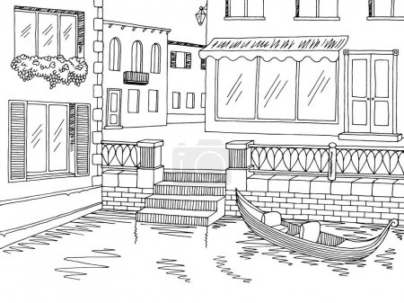 Town river graphic black white sketch illustration vector