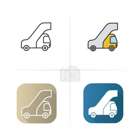 Passengers ladder icon. Flat design, linear color styles. Isolated vector illustrations.
