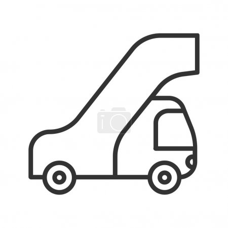 Passengers ladder linear icon. Thin line illustration. Vector isolated outline drawing.