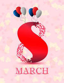 Greeting card with heart and figure 8 on a light background March 8 - Women's Day