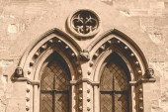Victorian Decorative Tracery Window in Sepia