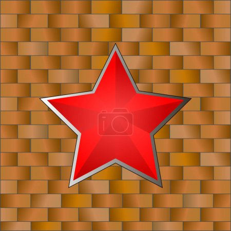 Red Star with Brick Wall. 23 February. Vector Illustration