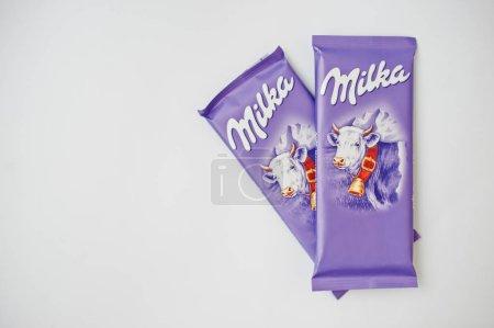 Dusseldorf, Germany - February 18, 2017: Two chocolates Milka on