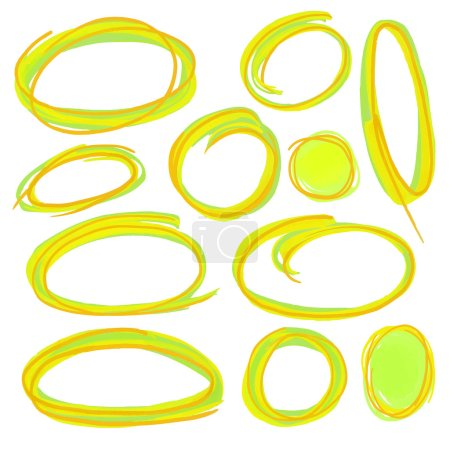 Colorful highlight round stripes, circle banners drawn with school markers. Stylish highlight elements for design. Vector highlight