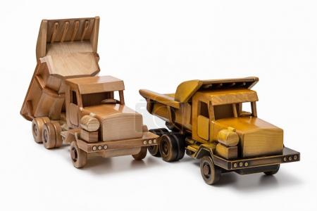 Two car dumper wooden toy model, isolated on white background.