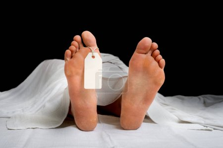 The dead woman's body with blank tag on feet under...