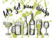 beercoctail and wine on green stains lettering lets get some drinks
