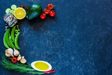 Photo for Food background. Clean, vegan, vegetarian eating concept on vintage concrete texture. Variety of healthy ingredients, spices and herbs for vegan, raw diet or gluten free diet. Frame, Flat lay, overhead - Royalty Free Image