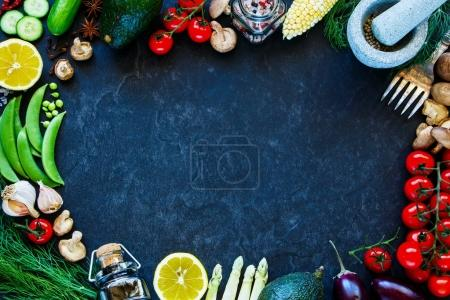Photo for Food. Food background. Clean, vegan, vegetarian eating concept on vintage concrete texture. Variety of  ingredients, spices and herbs for vegan, raw diet or gluten free diet. Frame, Flat lay, overhead - Royalty Free Image