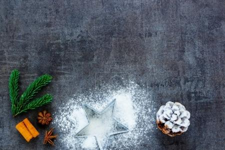 Photo for Food background for baking cookies with cutters, cinnamon, anise star and festive decoration on kitchen table top view. Christmas baking concept - Royalty Free Image