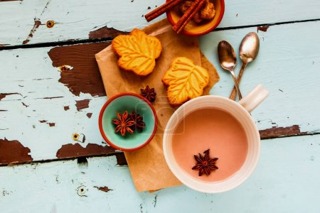Photo for Spiced hot chocolate cup and biscuits flat lay. Autumn drink. - Royalty Free Image