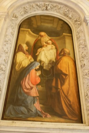 Interiors and pictures inside historical buildings. Paintings an