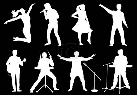 Set of white silhouettes of musicians, singers and dancers on black background. Vector illustration