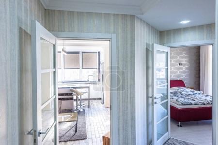white apartment interior hall design