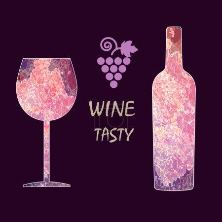 Illustration pour Carte de dégustation de vin infographie, signe du raisin, bouteille violette sur fond sombre avec un verre violet. Image vectorielle numérique . - image libre de droit
