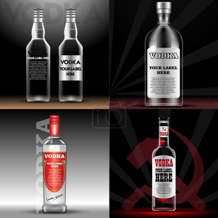 Vector red vodka bottle mockup with your label