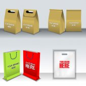 Digital vector recycle brown paper bags mockup hand held shoppig bag set ready for your logo and design flat style