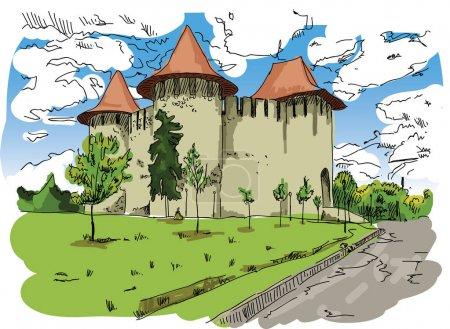 Digital vector painted Soroca Castle
