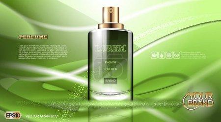 Illustration pour Parfum de verre vert vectoriel numérique pour homme modèle de conteneur, avec votre marque, prêt pour imprimer des annonces ou conception de magazine. Transparent et brillant, style 3D réaliste - image libre de droit