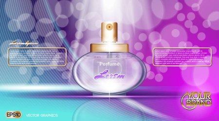 Illustration pour Vecteur numérique violet et bleu parfum de verre pour les femmes conteneur maquette, avec votre marque, prêt pour imprimer des annonces ou la conception de magazines. Transparent et brillant, style 3D réaliste - image libre de droit